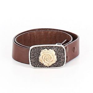 Accessories - Vintage Rose Buckle Brown Leather Belt Small